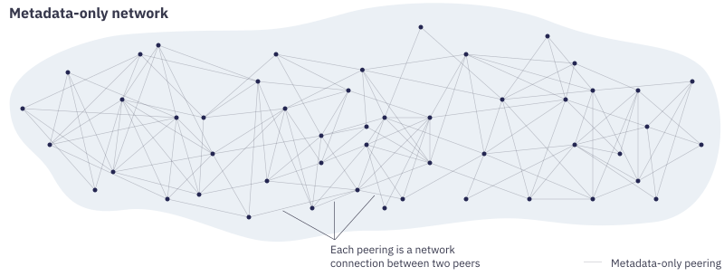 "Diagram showing a large shaded area with scattered dots inside connected by many thin, light lines representing metadata-only peerings between peers. The lines between the dots are labelled ""Each peering is a network connection between two peers""."
