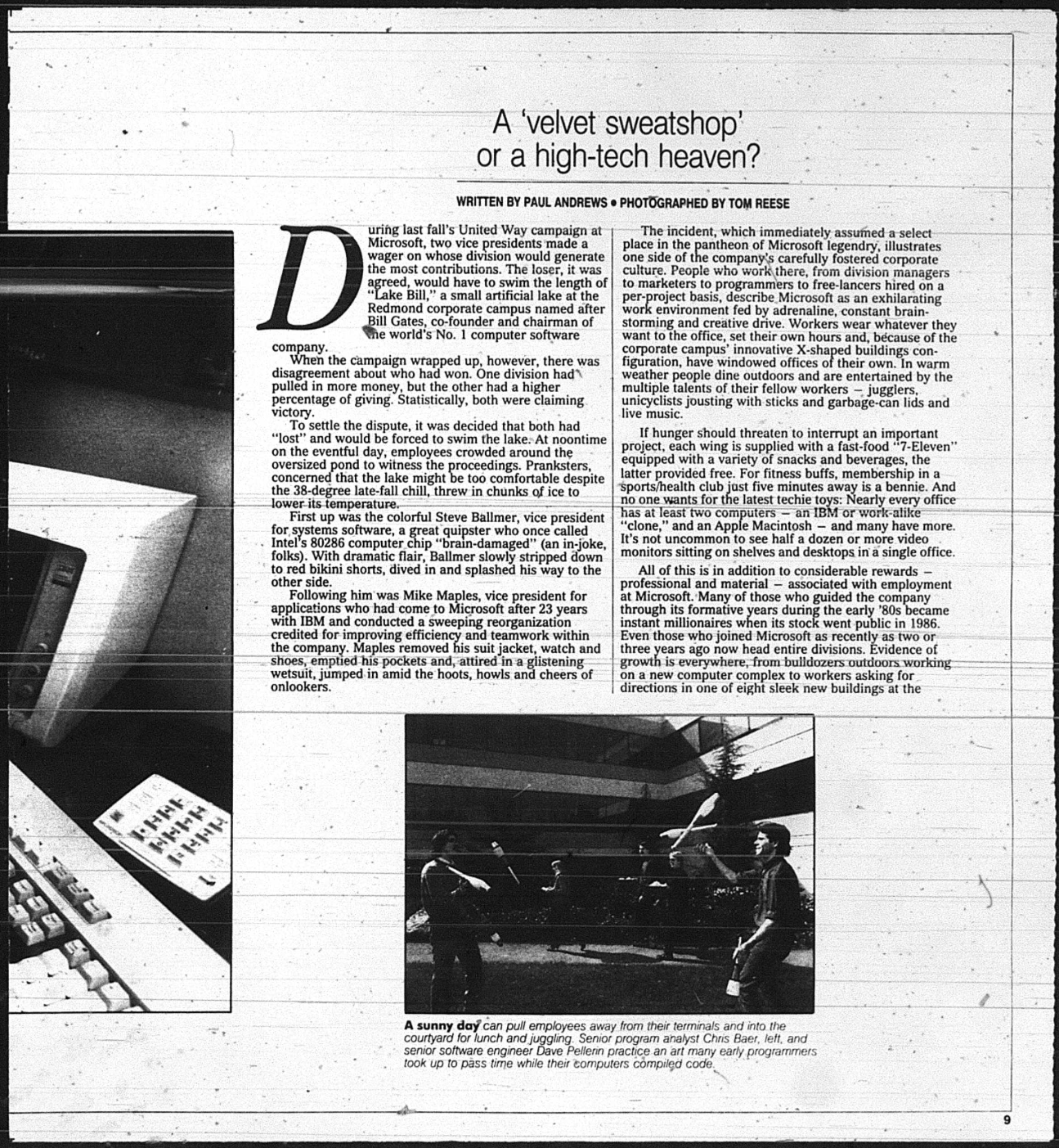 A page from the Seattle Times article. It is from original microfiche so difficult to read.