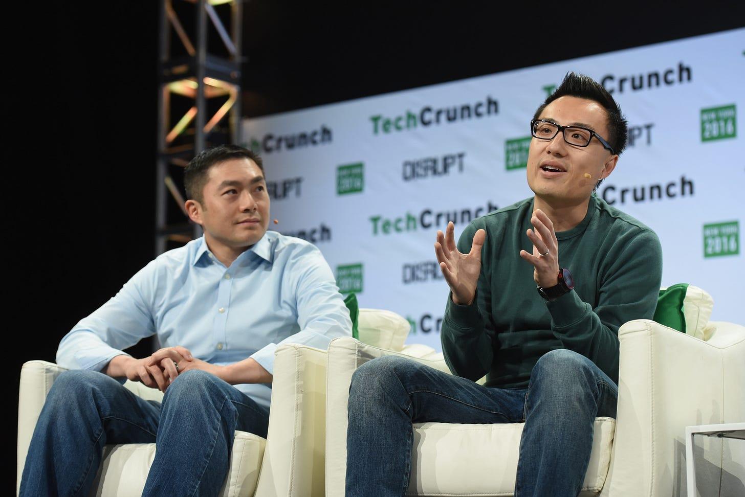 DoorDash CEO Tony Xu and board member Alfred Lin
