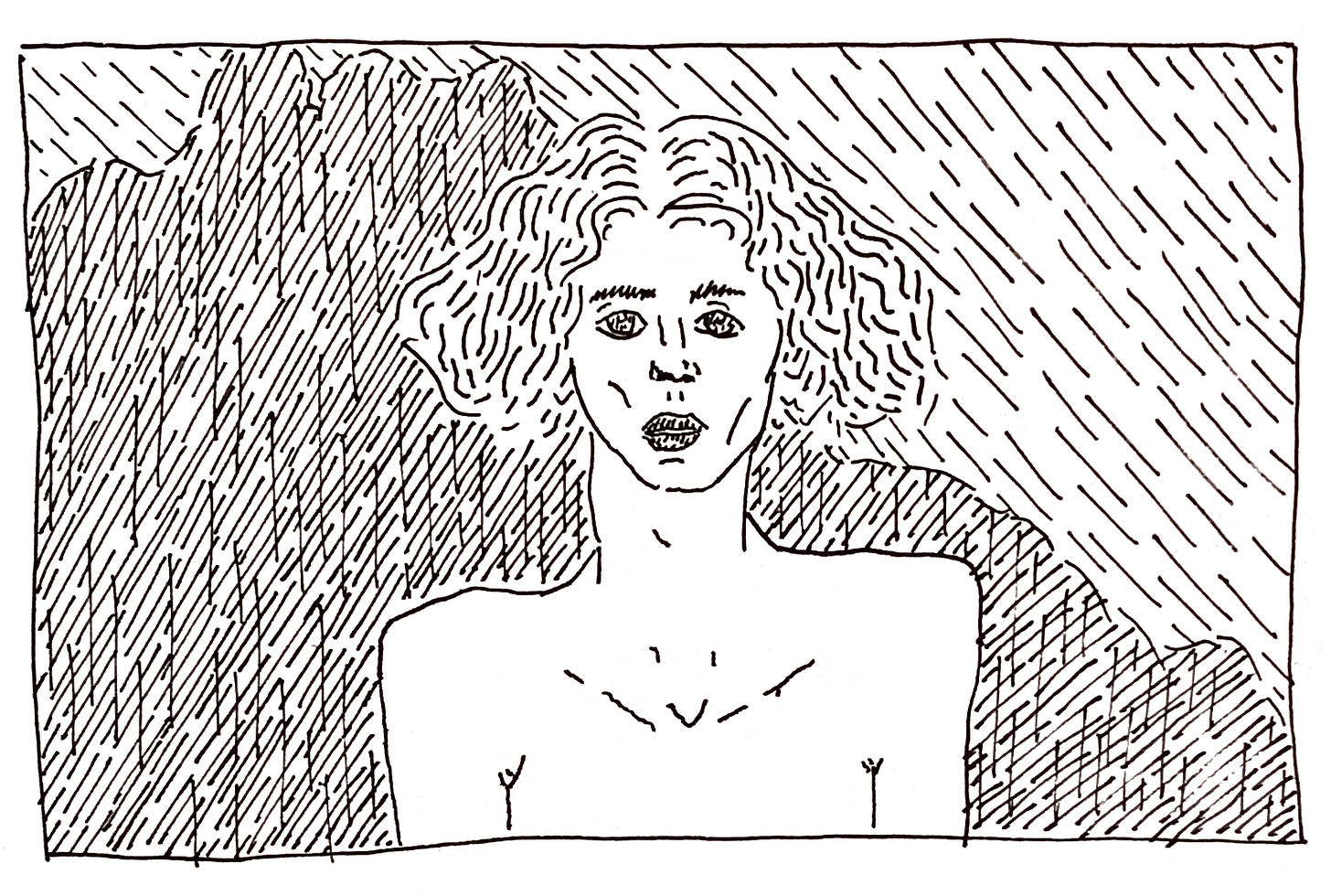 a black and white line drawing of the image of SOPHIE above, drawn by Leah. the sky and SOPHIE's hair are rendered into a torrent of lines and squiggles