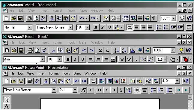 Standard toolbars and menus for Word, Excel, PowerPoint