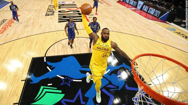 LeBron James dunks the ball during the NBA All-Star Game on March 7, 2021 at State Farm Arena in Atlanta, Georgia.