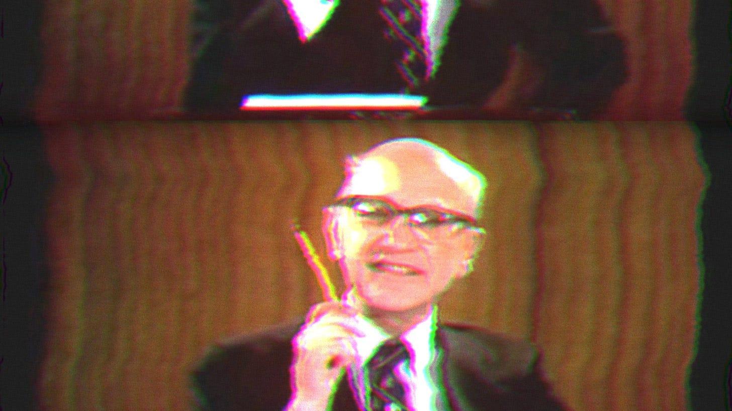 Milton Friedman Holding a Pencil