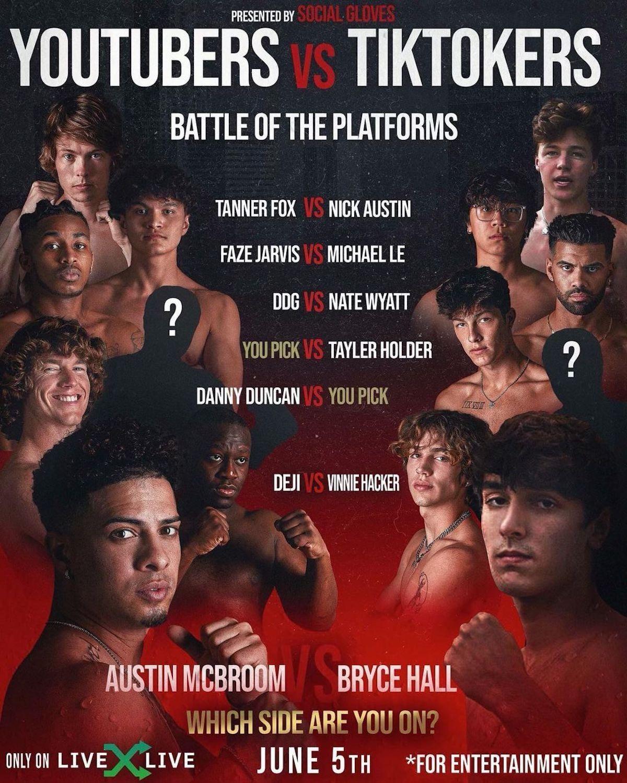 YouTube vs. TikTok Boxing List: Info About 'Battle of the Platforms'