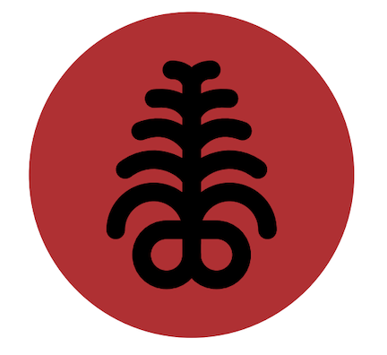homegoing icon is a red circle with a black symbol that looks something like a fern frond.
