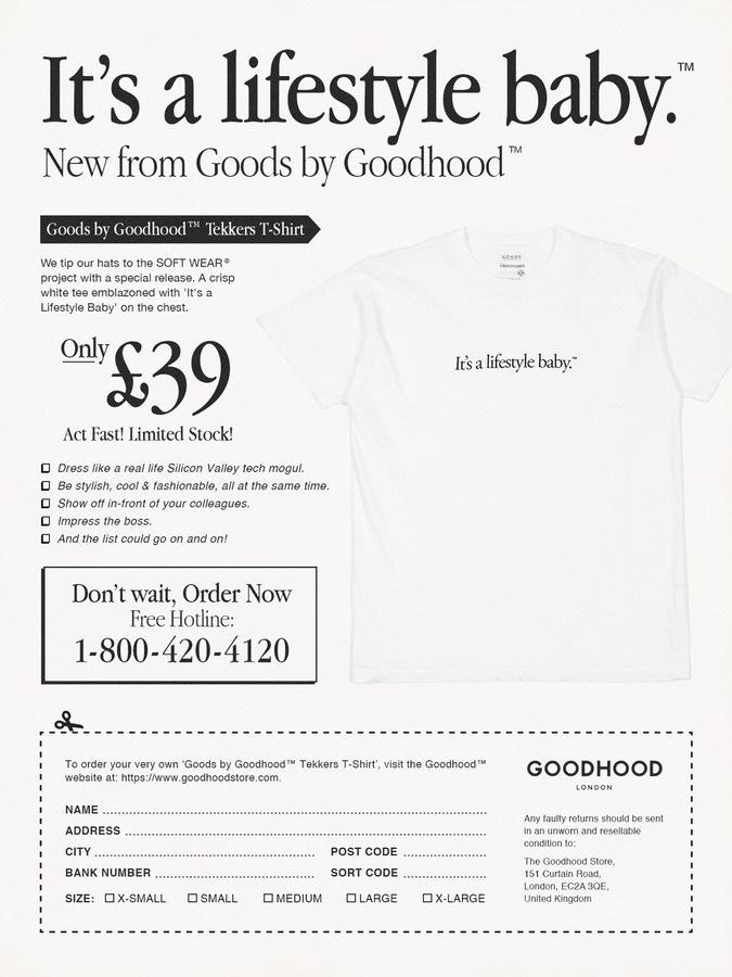 """anuncio de """"It's a Lifestyle Baby"""", de Goodhood"""