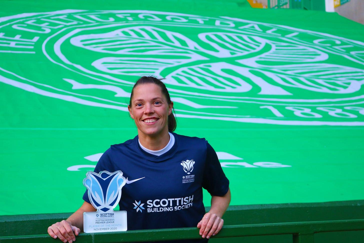 Lisa Robertson accepting her award at Celtic Park