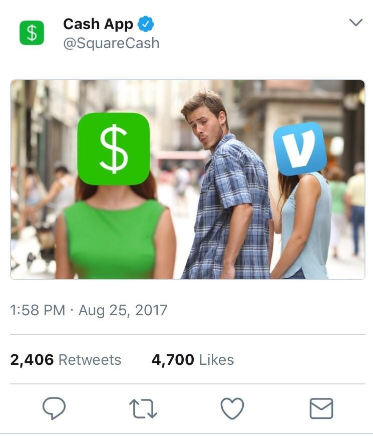 Square Cash with the tasty meme : FellowKids