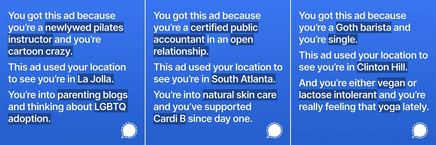 Screenshots of more sample ads