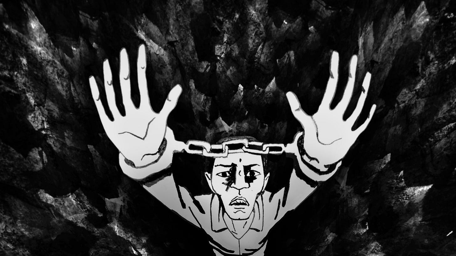 Illustration of a man in handcuffs