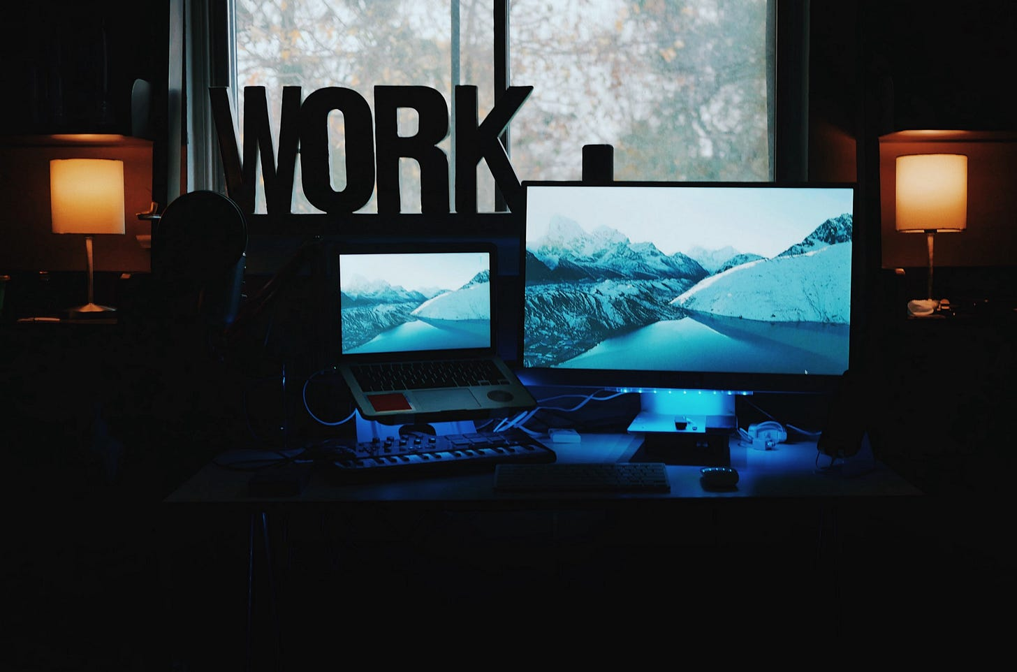 image of a desktop work station with the word work