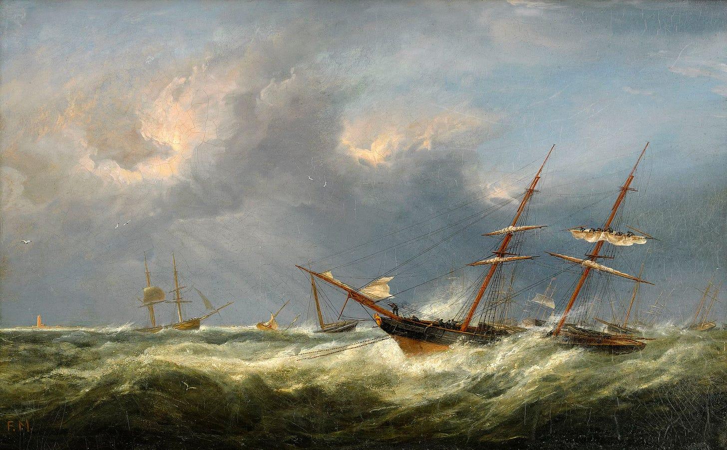 Fritz Sigfried G. Melbye - Skibe på stormfuldt hav.jpg