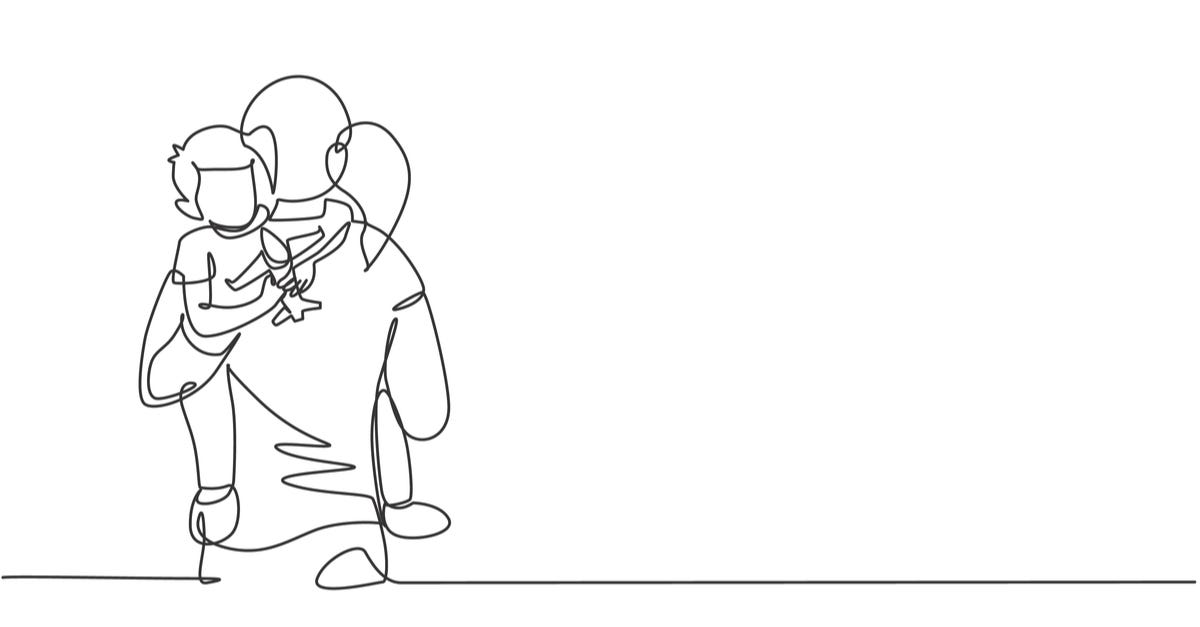 One continuous line drawing of young mother hugging her sleepy son while holding airplane toy at home, family life. Happy parenting concept. Dynamic single line draw design vector graphic illustration