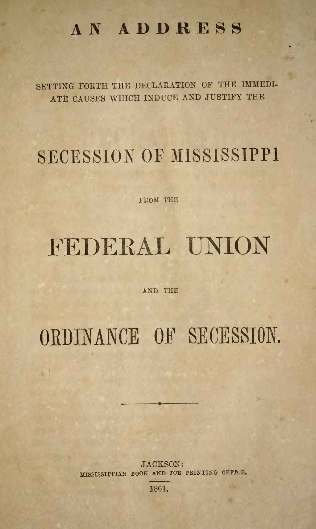 Cover image of Mississippi Articles of Secession (1861)