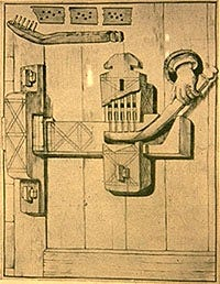 a diagram of an early Egyptian wooden lock and key.