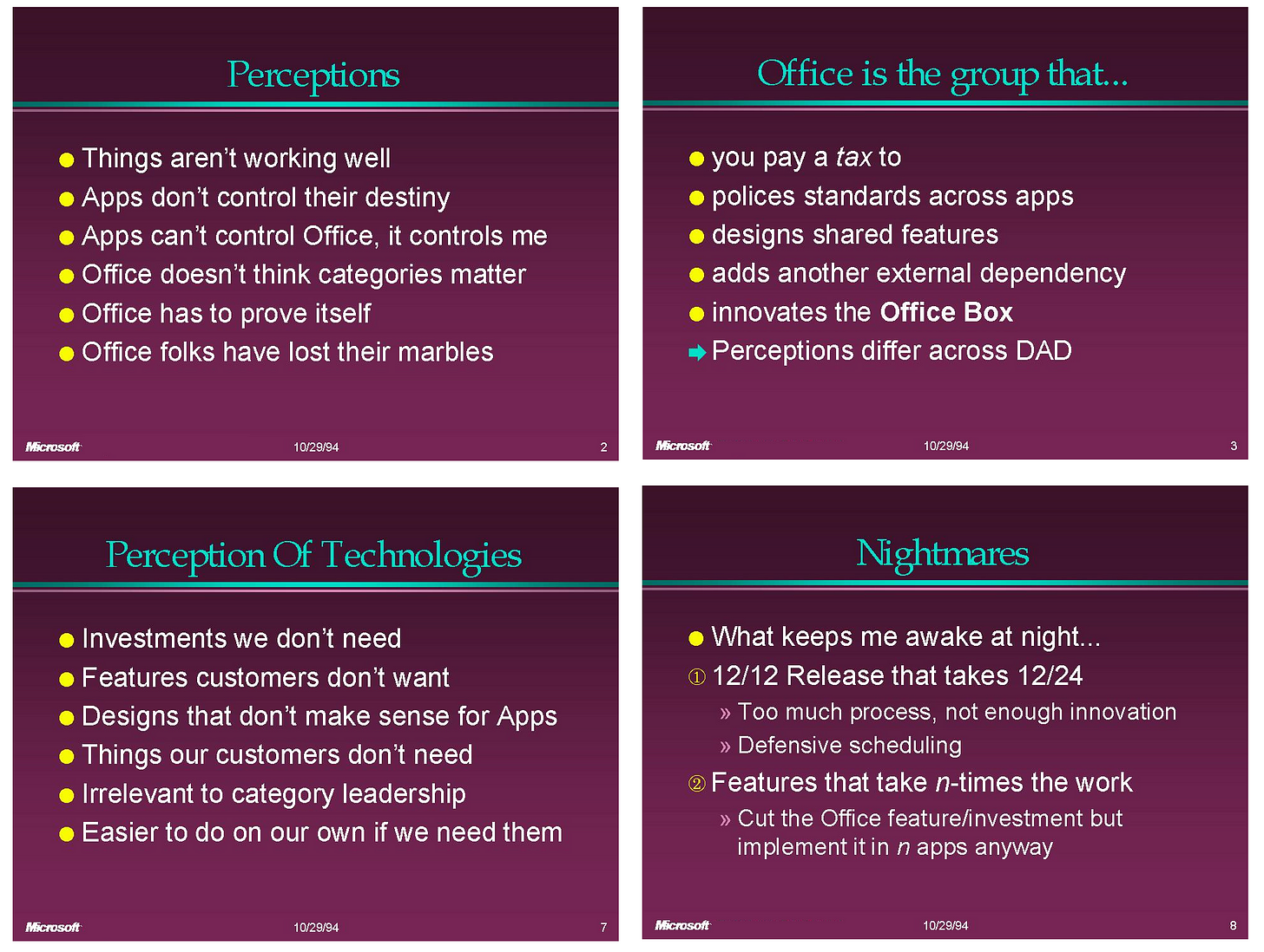 Slide: Perceptions.  Things aren't working well Apps don't control their destiny Apps can't control Office, it controls me Office doesn't think categories matter Office has to prove itself Office folks have lost their marbles  Slide: Office is the group that... you pay a tax to polices standards across apps designs shared features adds another external dependency innovates the Office Box Perceptions differ across DAD  Slide: Perception of technologies Investments we don't need Features customers don't want Designs that don't make sense for Apps Things our customers don't need Irrelevant to category leadership Easier to do on our own if we need them   Slide: Nightmares What keeps me awake at night... 12/12 Release that takes 12/24 Too much process, not enough innovation Defensive scheduling Features that take n-times the work Cut the Office feature/investment but implement it in n apps anyway