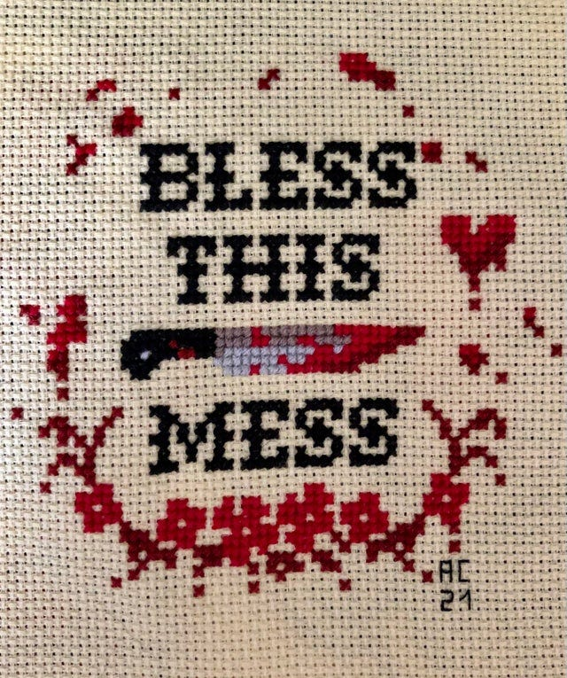 r/CrossStitch - [FO] Bless This Mess by Grandma Girl Designs!