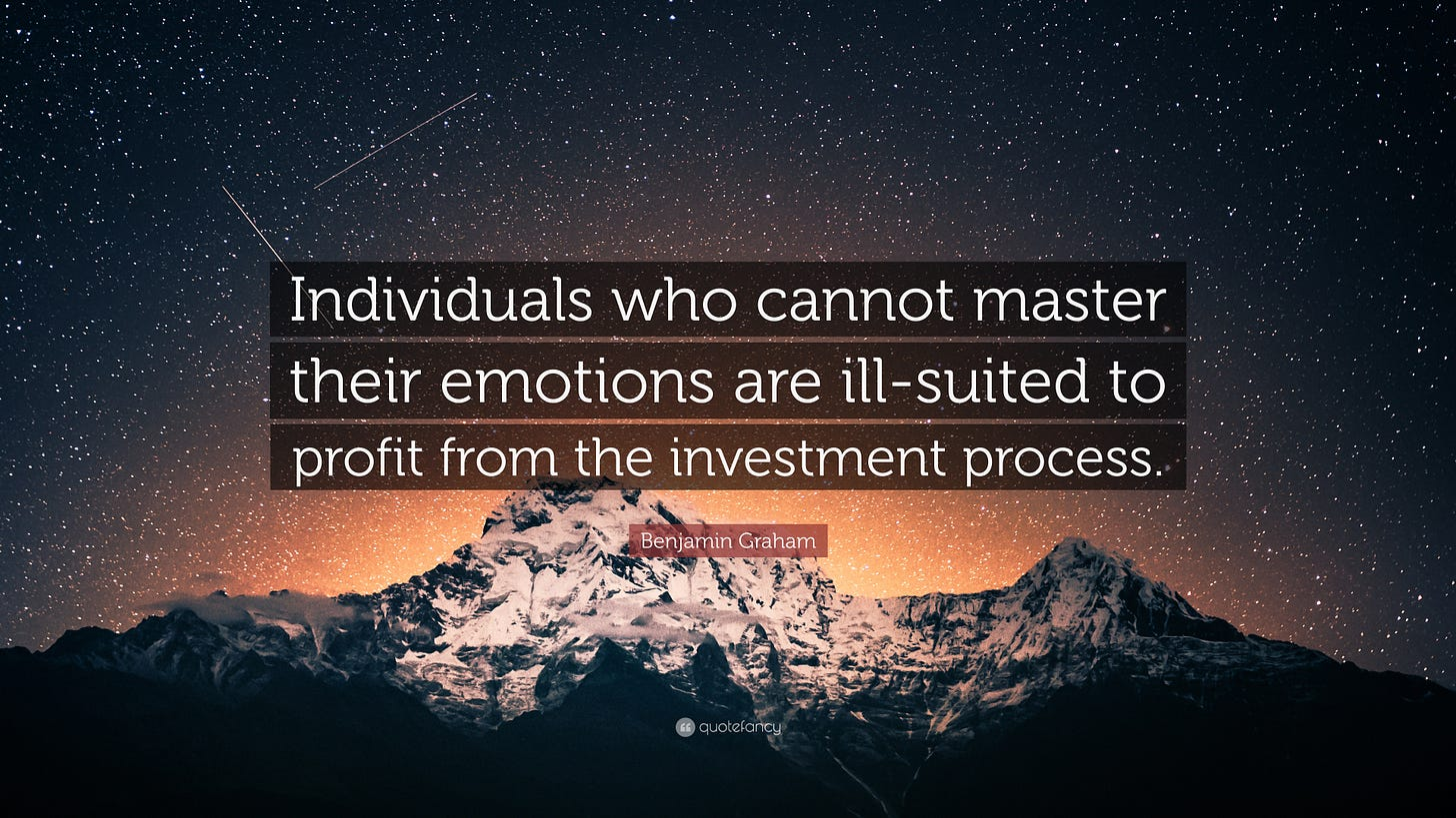 """Benjamin Graham Quote: """"Individuals who cannot master their emotions are  ill-suited to profit from the"""