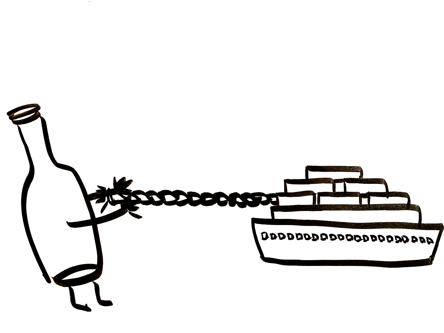An anthropomorphic wine bottle tugs a container ship