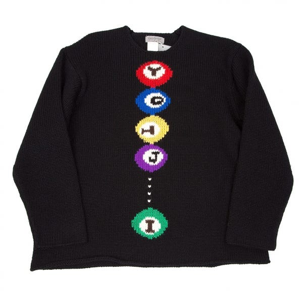 Yohji Yamamoto POUR HOMME Billiards knit sweater Black M