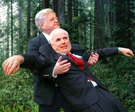 Sen. John McCain (R-AZ) falls into the arms of Sen. Ted Kennedy (D-MA), learning about the importance of bipartisan trust.