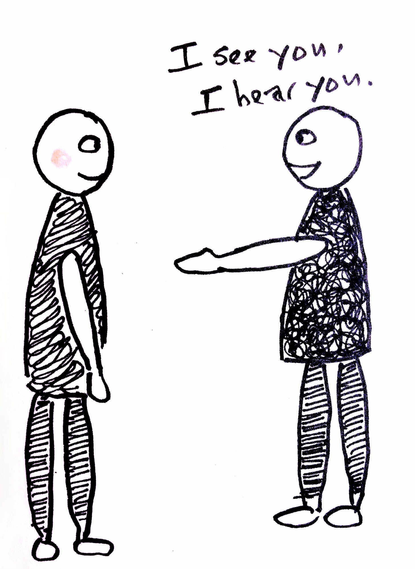 """The 3rd panel shows two people facing each other. On the left was one of the faces, on the right was the person who said """"I see you"""", and he's extending his hand out to the other person."""