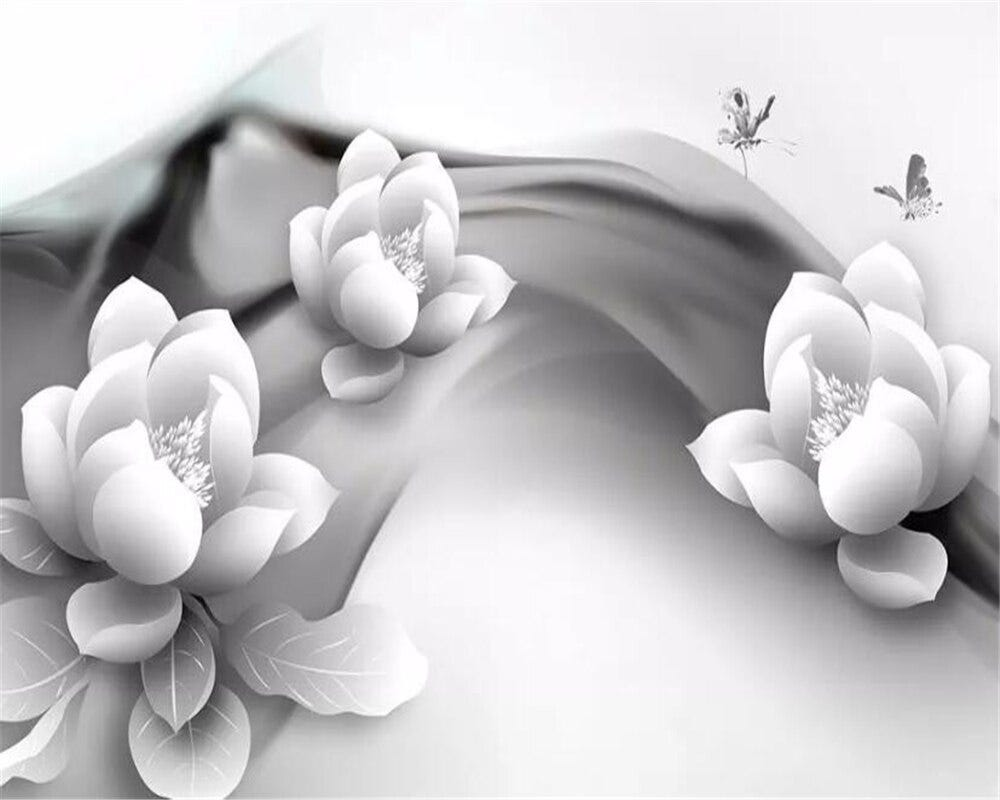 223847116 Beibehang Custom 3d Mural Wallpaper Black And White Ink Lotus Butterfly Hotel Cafe Background Wallpaper For Walls 3 D Tapeta Home Improvement Painting Supplies Wall Treatments
