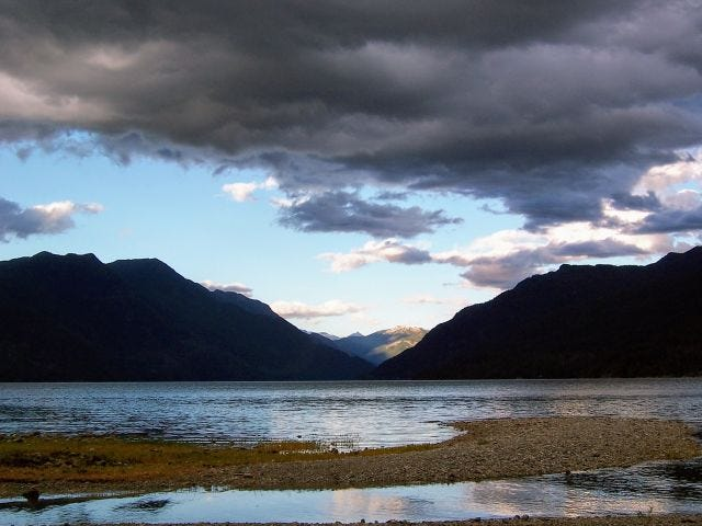 Storm clouds gather over the Sechelt Inlet.