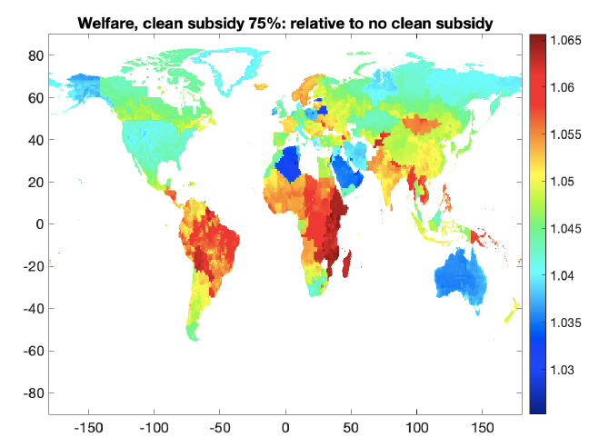 Map depicting welfare changes across the world with the implementation of a clean energy subsidy
