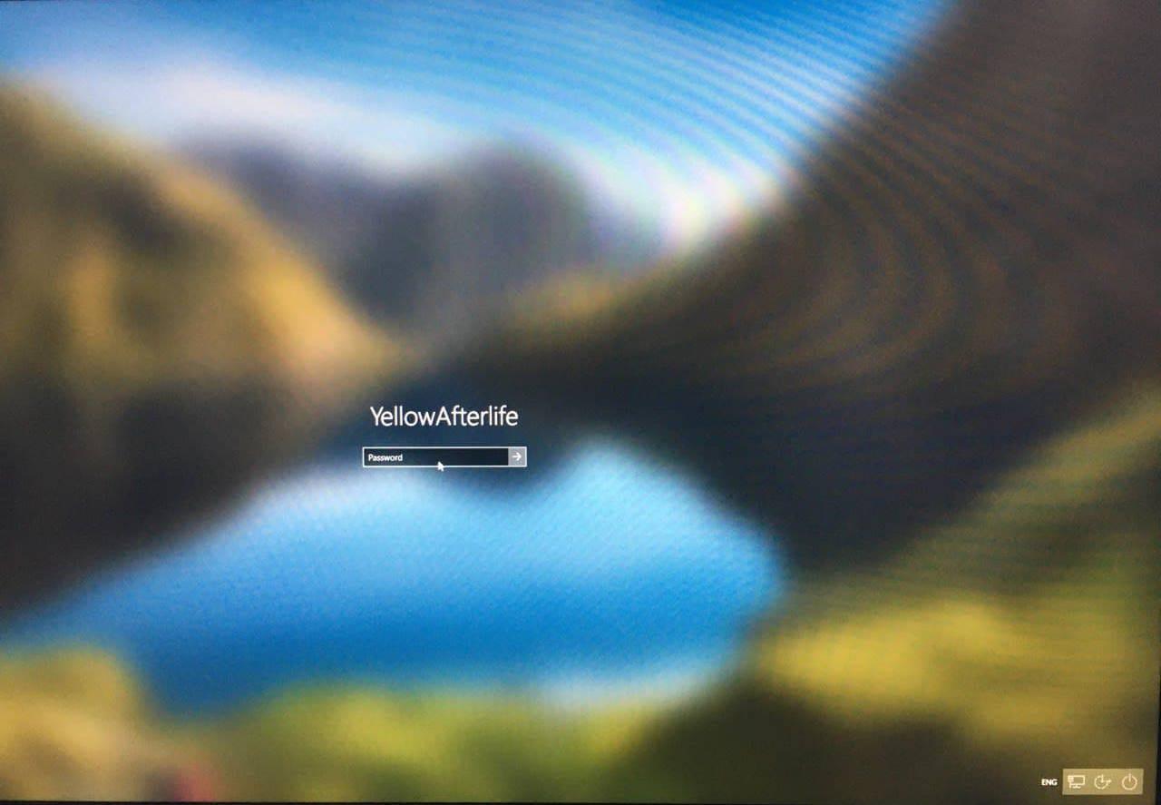 A stuck Windows 10 login screen