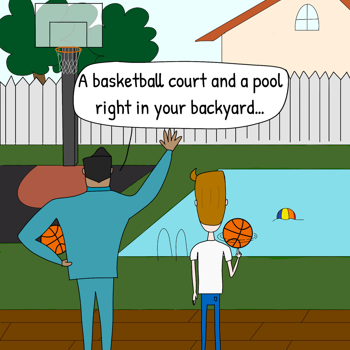 """Panel 3: The realtor shows Vic the backyard and continues by saying """"A basketball court and a pool right in your backyard..."""""""