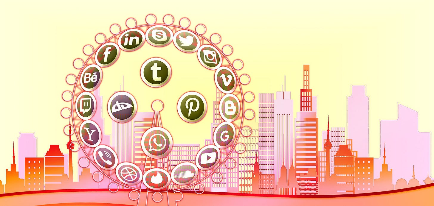 A cartoon drawing featuring a city skyline in the background and a ferris wheel in the foreground. On the ferris wheel, where the seats would expected to be, there are icons representing various media platforms: Twitter, Skype, WhatsApp, LinkedIn, Yahoo!, Google, Instagram, Vimeo, YouTube, etc.