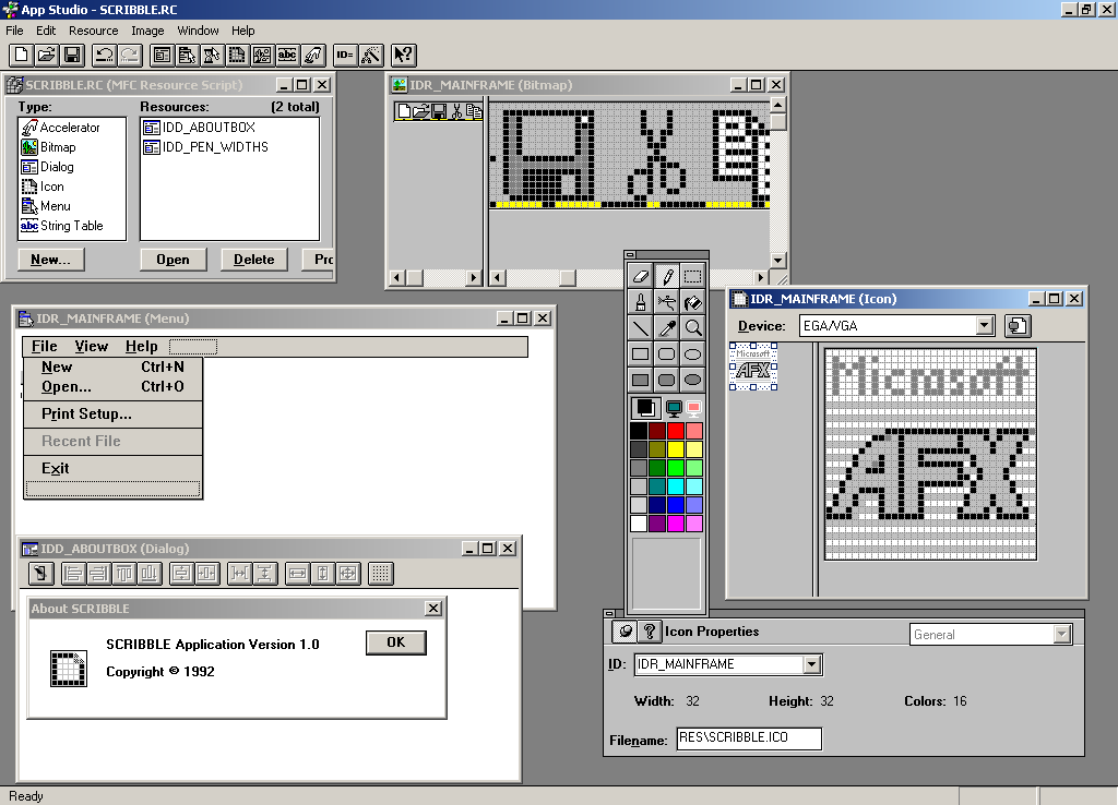 User interface screen of Windows app for designing user interface.