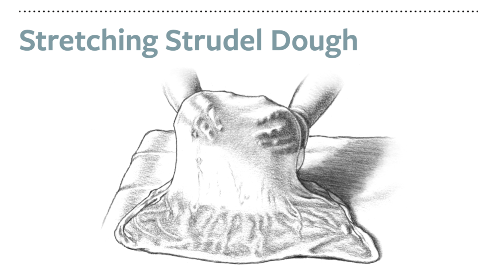 To stretch the dough thinner after rolling, shimmy your hands under the dough so it rests on the back of your hands and work your hands outward to gently pull the dough, moving up and down the rectangle. Keep stretching until it is translucent and the rectangle measures at least 30 × 20 inches, then fill right away.
