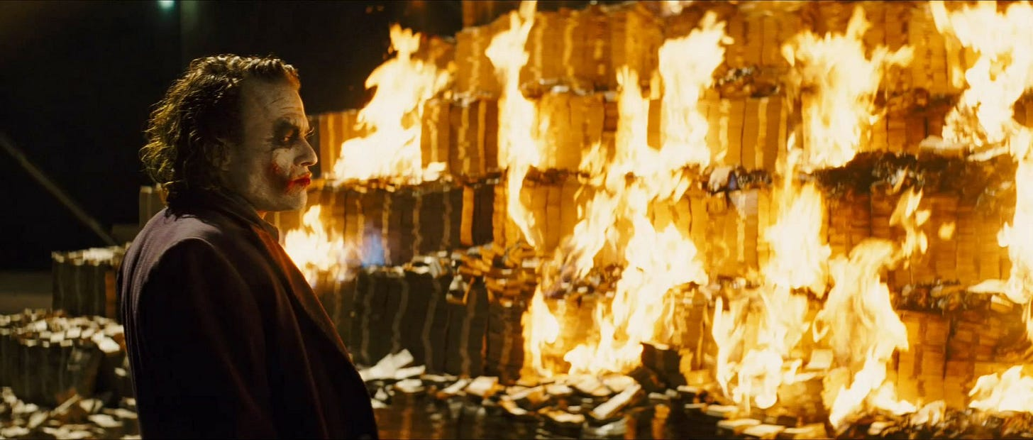 In The Dark Knight(2008) Joker burns a pile of cash, which is illegal in  the US. This little detail implies that Joker might be a bad person. :  shittymoviedetails