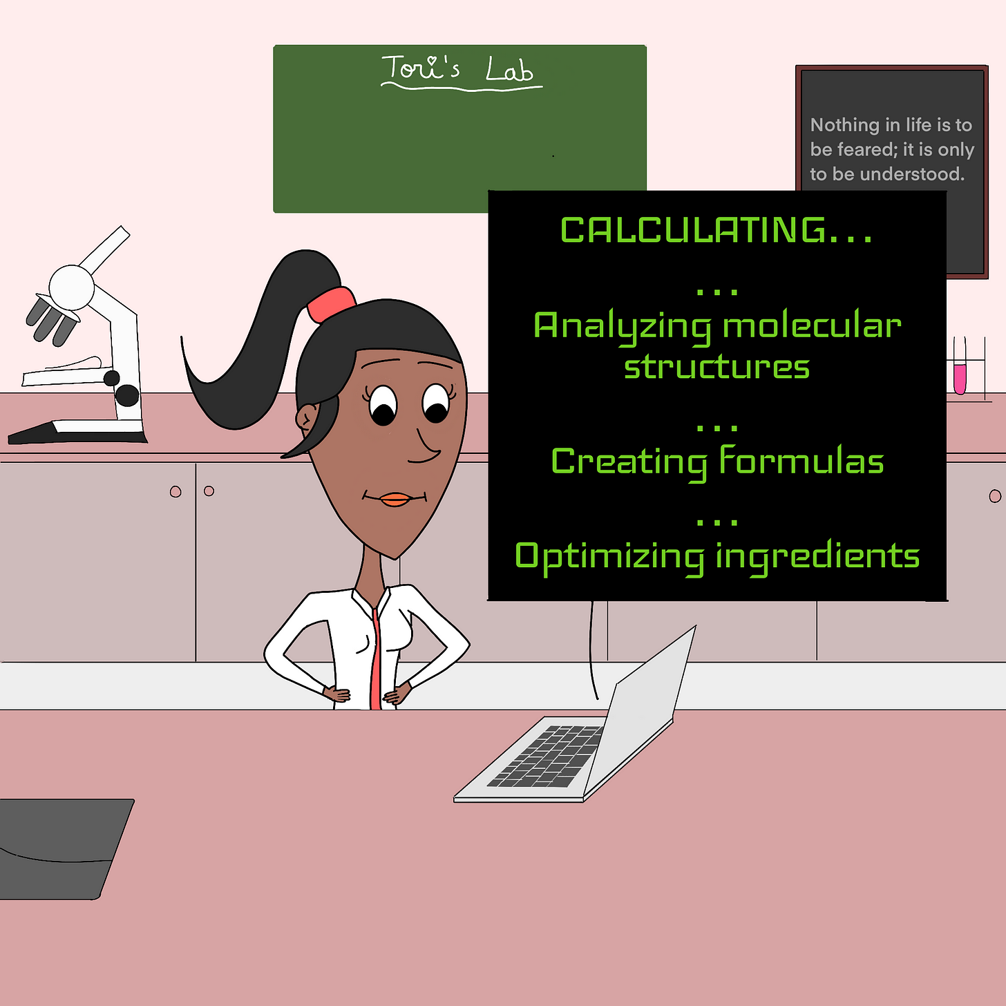 """Panel 3: The Giuseppe algorithm starts working and executing multiple commands to create a recipe: """"CALCULATING... Analyzing molecular structures... Creating formulas... Optimizing ingredients"""" says Giuseppe."""