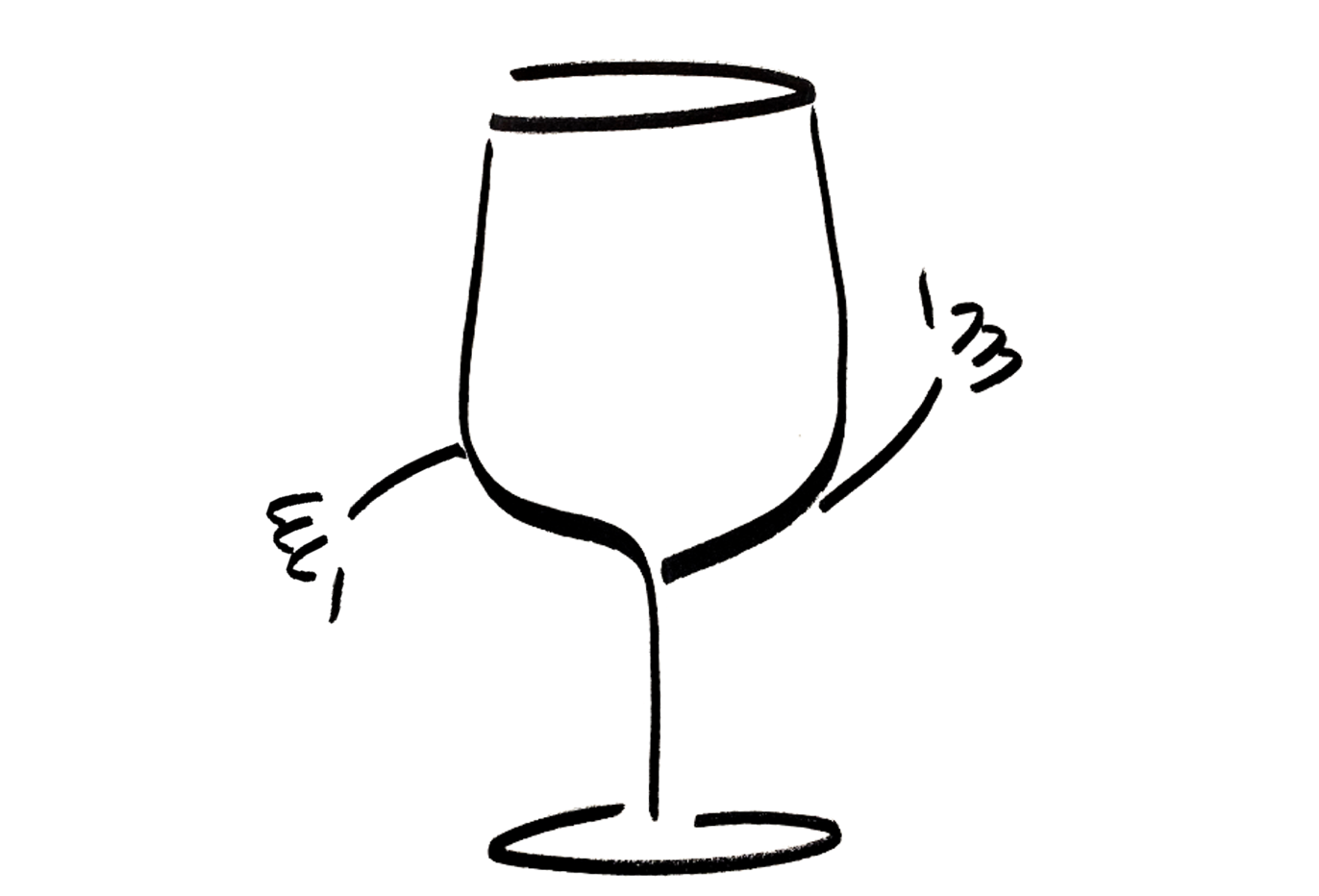 An anthropomorphic wine glass gives both a thumbs up and a thumbs down