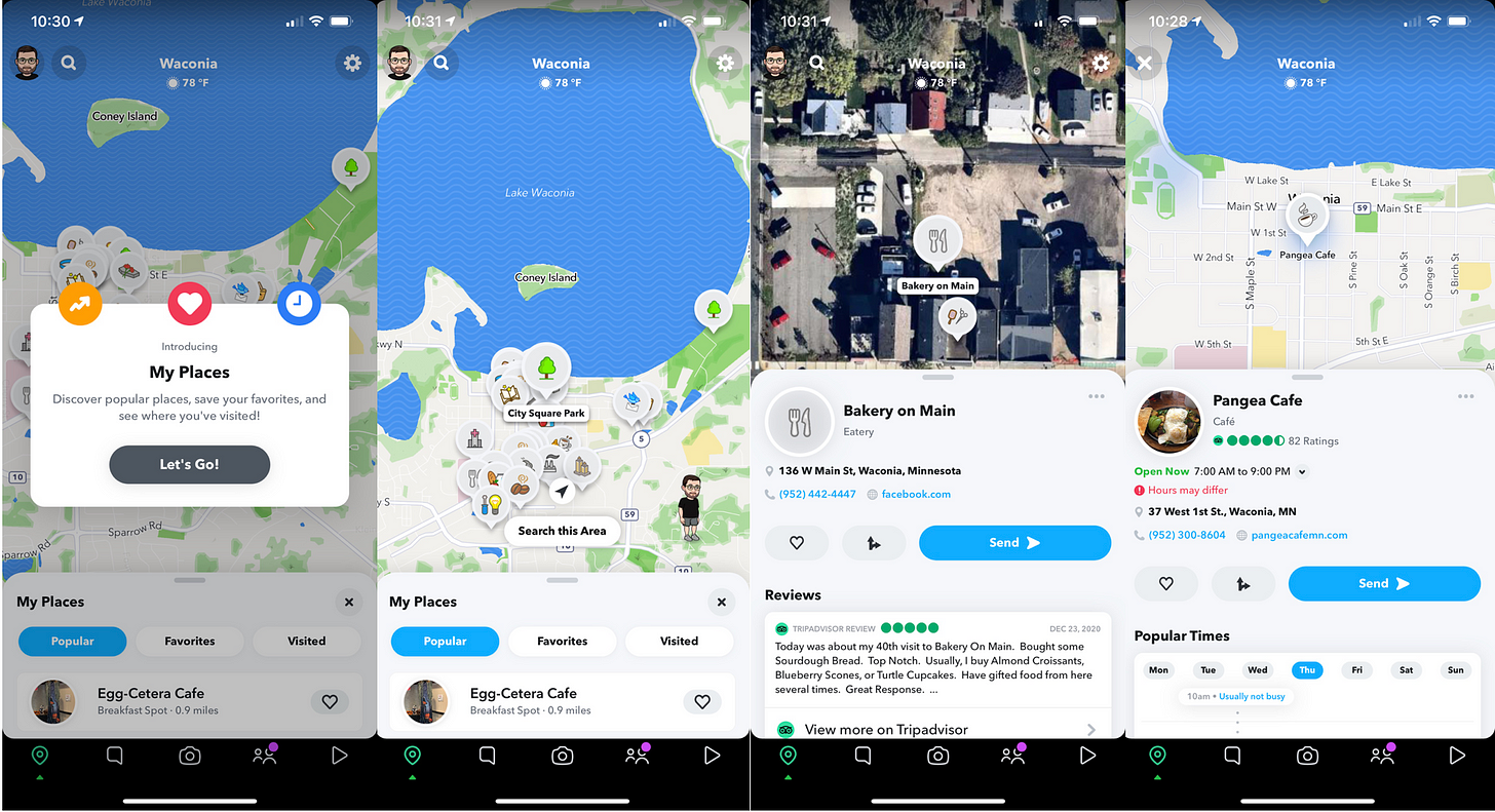 Snapchat Maps screenshots, including businesses and social context