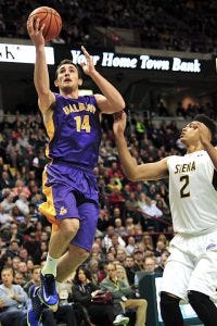 Sam Rowley on the drive against Siena - Courtesy University at Albany Media Relations