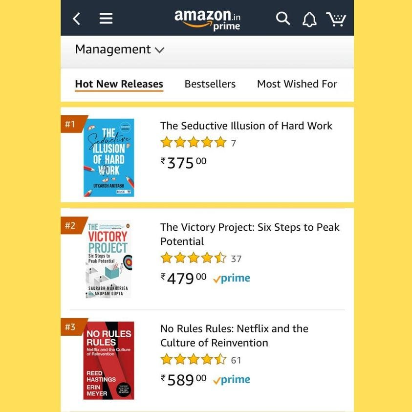 "'""The Seductive Illusion of Hard Work"" is an Amazon #1 best-seller today. Thank you so much. I treasure your support.   https://www.networkcapitaltv.com/courses/the-seductive-illusion-of-hard-work-by-utkarsh-amitabh'"