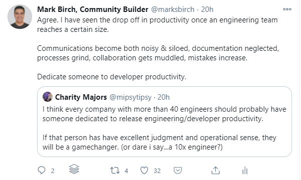 drop off in productivity once an engineering team reaches a certain size