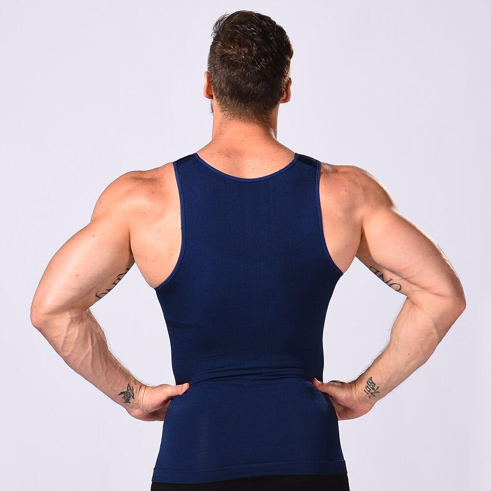 Mens Compression Shirt Slimming Body Shaper Vest Workout Tank Tops Abs Abdomen Undershirts