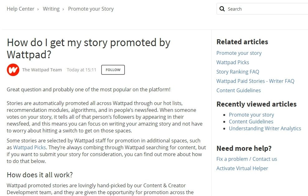 A description of how writers can promote their stories on Wattpad