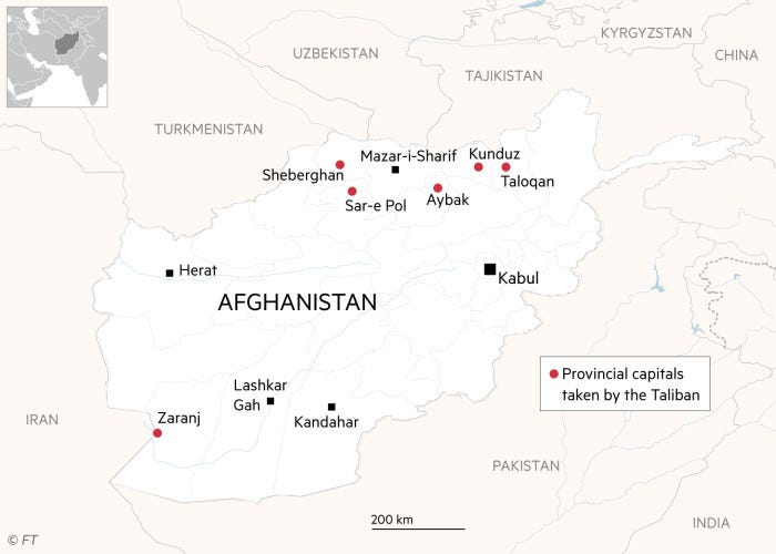 Map of Afghanistan showing provincial capitals taken by the Taliban as at August 9, 2021