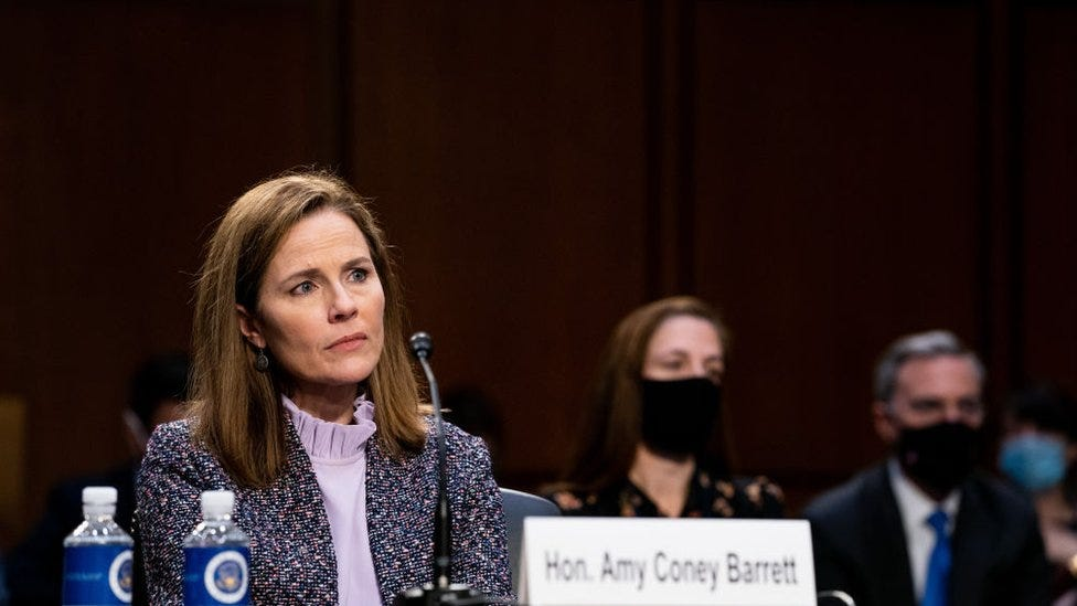 Amy Coney Barrett: Trump US Supreme Court pick grilled on presidential  powers - BBC News