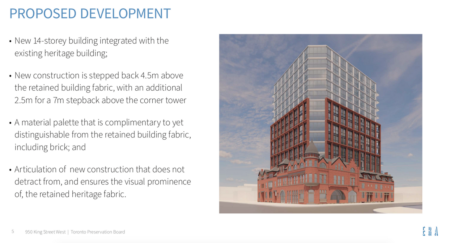 Rendering of proposed redevelopment of Palace Arms Hotel, showing 14-story addition