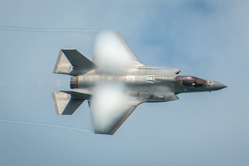 Photo of an F-35 breaking the sound barrier