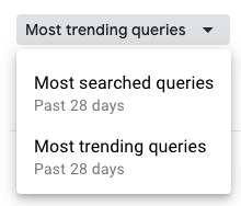 "A drop-down menu in GSC Insights reads ""Most searched queries: past 28 days"" and ""Most trending queries: past 28 days"""