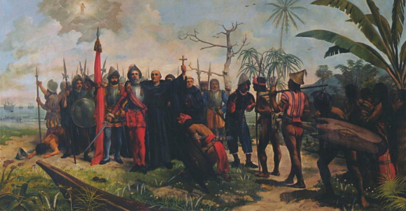 Cuadro del pintor filipino Telesforo Sucgang que recoge la llegada de Miguel López de Legazpi y fray Andrés de Urdaneta a Filipinas./