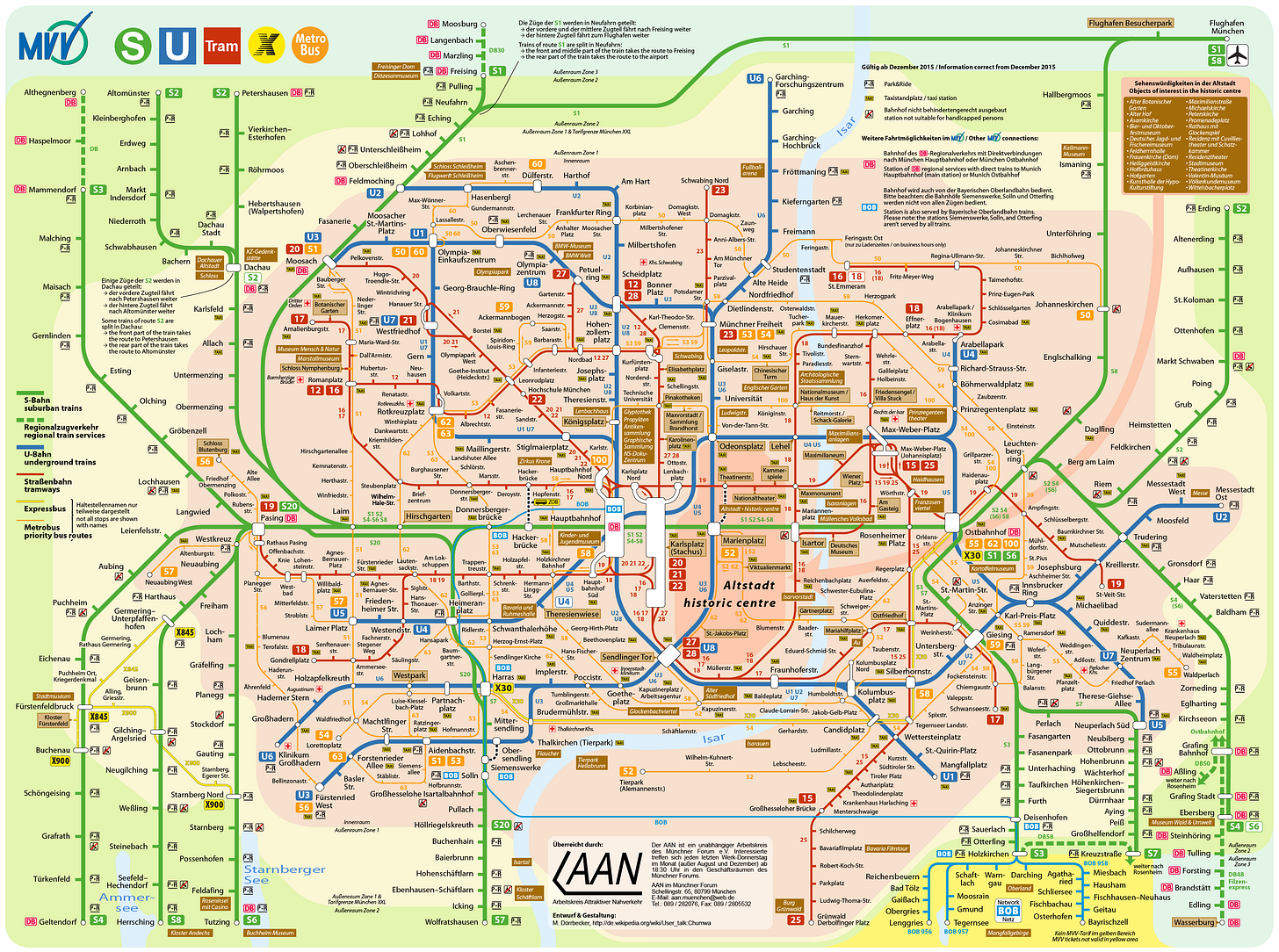 map of Munich's public transportation system